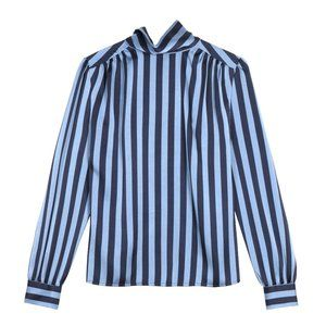 Frnch Blue Vertical Stripe Cyllia Woven Blouse